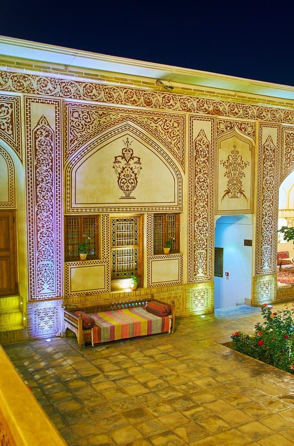 Decorative elements of Mahinestan Raheb Historical House, Kashan, Iran royalty free stock image