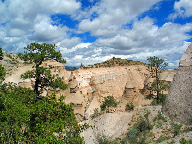 Kashe Katuwe Hoodoo`s White Cliffs at Top of Trail. Kashe-Katuwe Tent Rocks National Monument located approximately 40 miles southwest of Santa Fe, New Mexico stock images