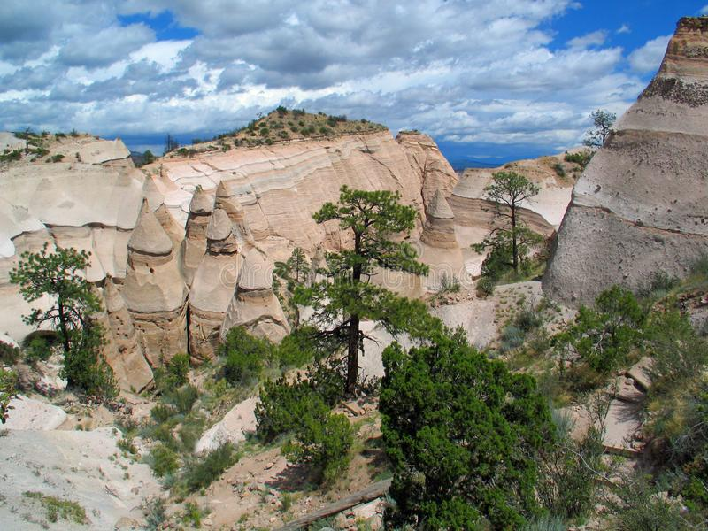 Kashe Katuwe Hoodoo`s White Cliffs at Top of Trail. Kashe-Katuwe Tent Rocks National Monument located approximately 40 miles southwest of Santa Fe, New Mexico stock photos