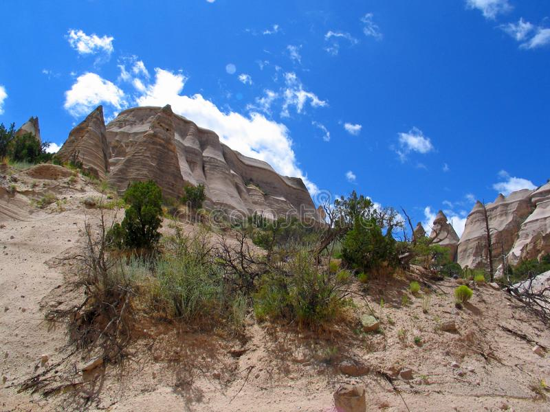 Kashe-Katuwe Tent Rocks or Hoodoo`s from the base of Trail. Kashe-Katuwe Tent Rocks National Monument located approximately 40 miles southwest of Santa Fe, New stock images