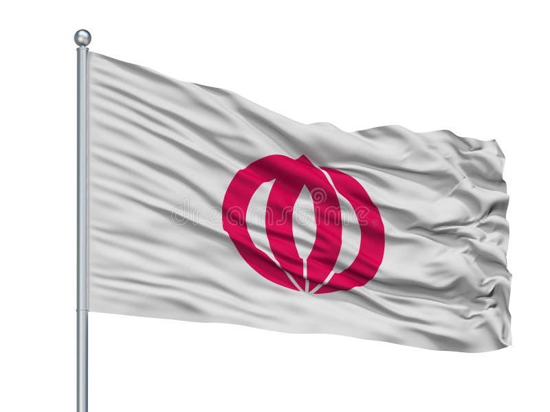 Kashima-Stadt-Flagge auf Fahnenmast, Japan, Saga-Präfektur, lokalisiert auf weißem Hintergrund vektor abbildung