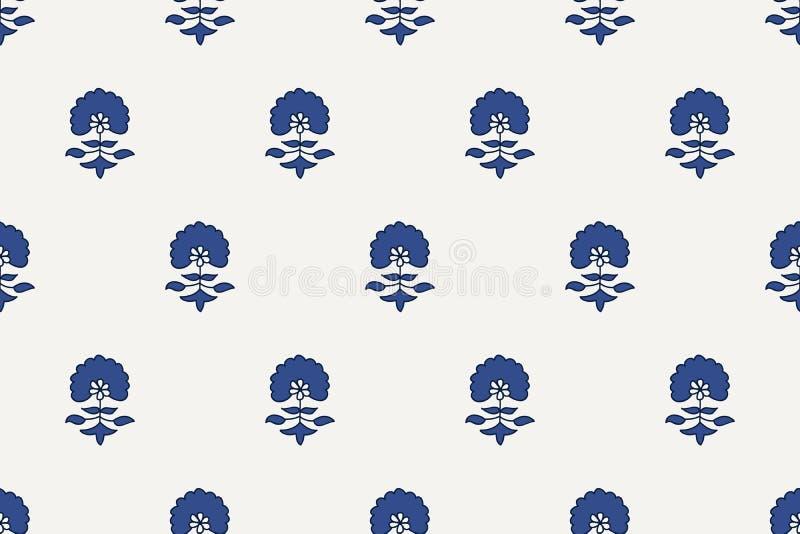 Kashmir blockprint floral pattern stock illustration
