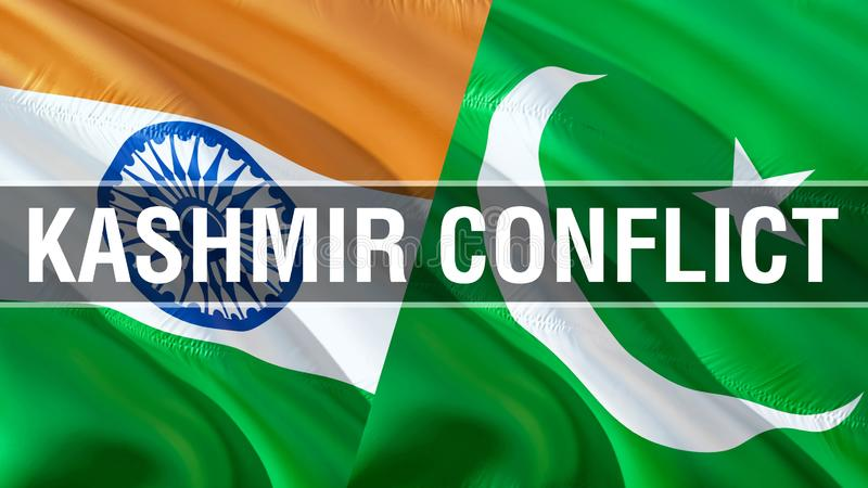 Kashmir Conflict on Pakistan and India flags. Waving flag design,3D rendering. Pakistan India flag picture, wallpaper image. Kashmir Indian Indo-Pakistani war royalty free stock image