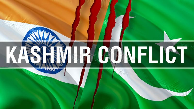 Kashmir Conflict on Pakistan and India flags. Waving flag design,3D rendering. Pakistan India flag picture, wallpaper image. Kashmir Indian Indo-Pakistani war royalty free stock photo