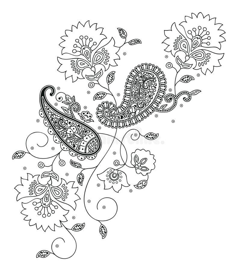 Kashmir henna design fashion royalty free illustration