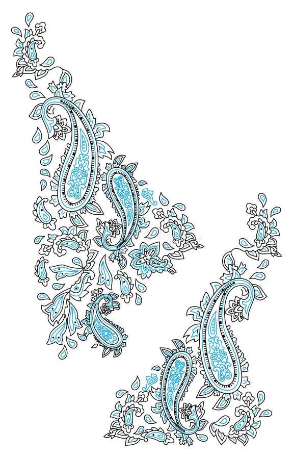 Kashmir henna design fashion vector illustration
