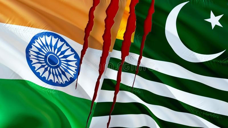 Kashmir and India flags scar concept. Waving flag design,3D rendering. Kashmir India flag picture, wallpaper image. Kashmirn. Indian Indo-Pakistani war and royalty free stock images