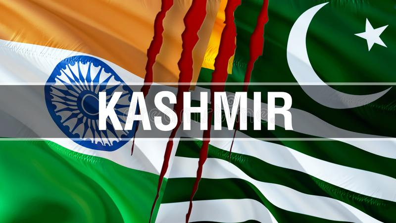 Kashmir and India flags. Waving flag design,3D rendering. Kashmir India flag picture, wallpaper image. Kashmirn Indian Indo-. Pakistani war and conflict. Delhi royalty free stock photos