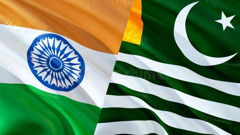 Kashmir och Indien flaggor Vinkande flaggadesign, tolkning 3D Kashmir Indien flaggabild, tapetbild Kashmirn indier Indo- royaltyfria foton