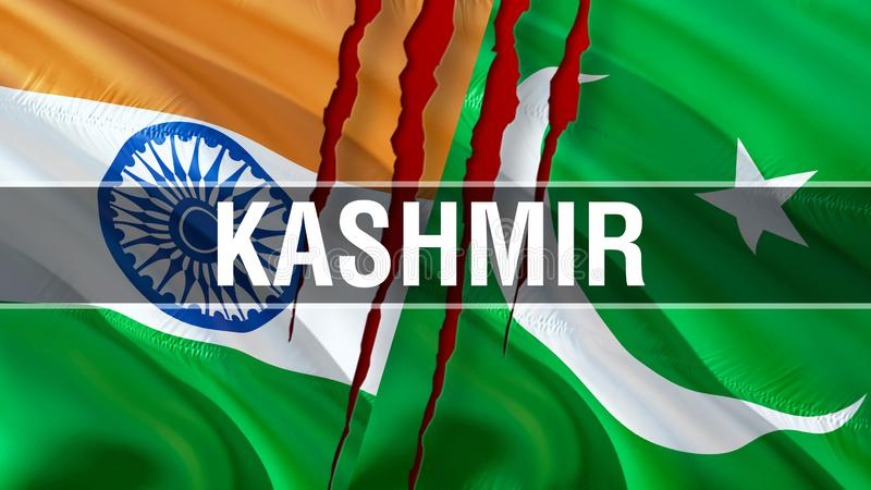 Kashmir on Pakistan and India flags. Waving flag design,3D rendering. Pakistan India flag picture, wallpaper image. Kashmir Indian stock image