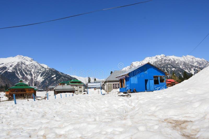 Kashmir snöfall fotografering för bildbyråer