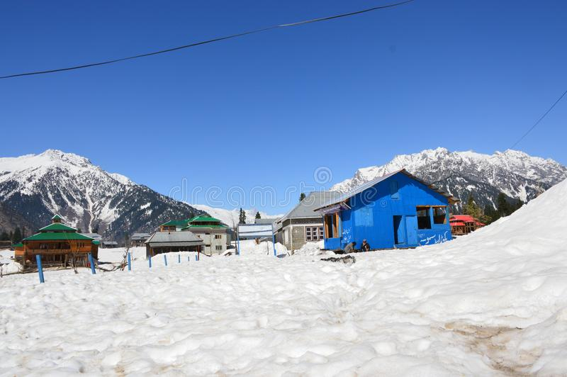 Kashmir snowfall. Snowfall in Arang Kel Kashmir near Pak India border stock image