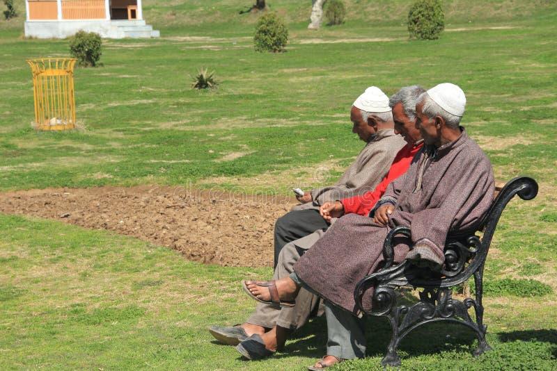 Kashmiri muslim men sit in A Park. stock images
