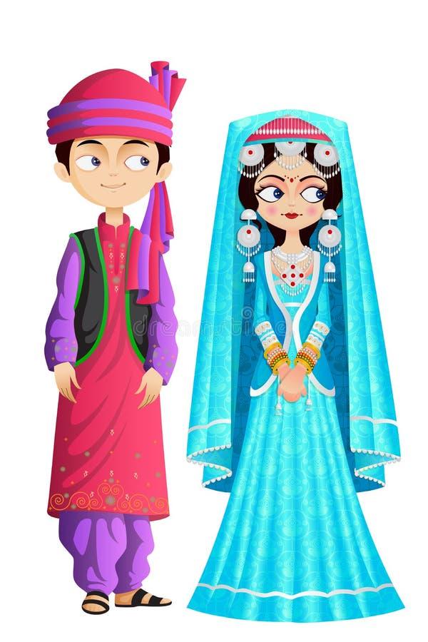 Kashmiri Wedding Couple vektor abbildung