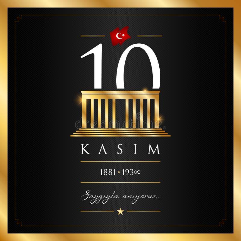 10 November, Mustafa Kemal Ataturk Death Day anniversary. 10 kasim vector illustration. (10 November, Mustafa Kemal Ataturk Death Day anniversary.) royalty free illustration
