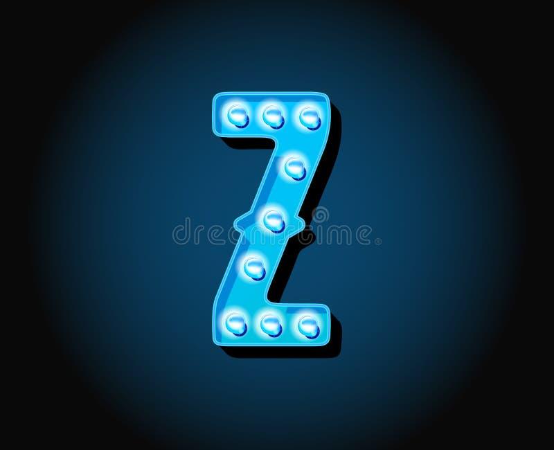 Kasino eller bokstav för alfabet för ljus kula för neon för Broadway teckenstil stock illustrationer