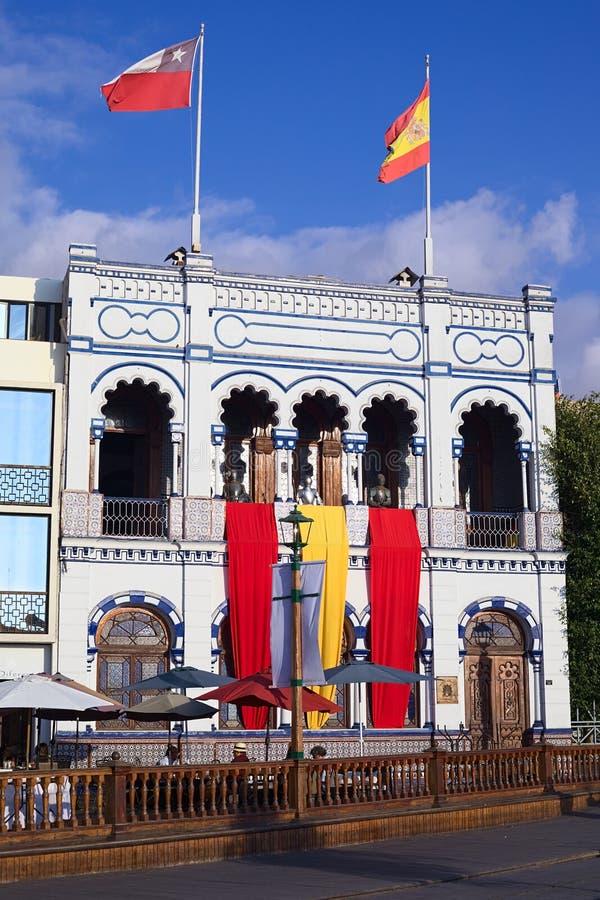 Kasino Espanol in Iquique, Chile stockbilder