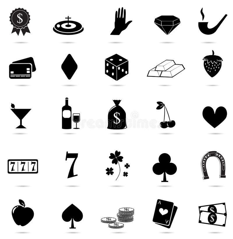 Kasino farasymboler på vit bakgrund stock illustrationer