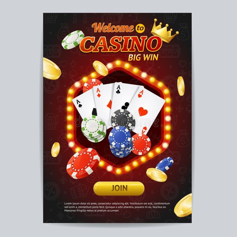 Kasino-Glücksspiel-Plakat-Karten-Schablone Vektor vektor abbildung