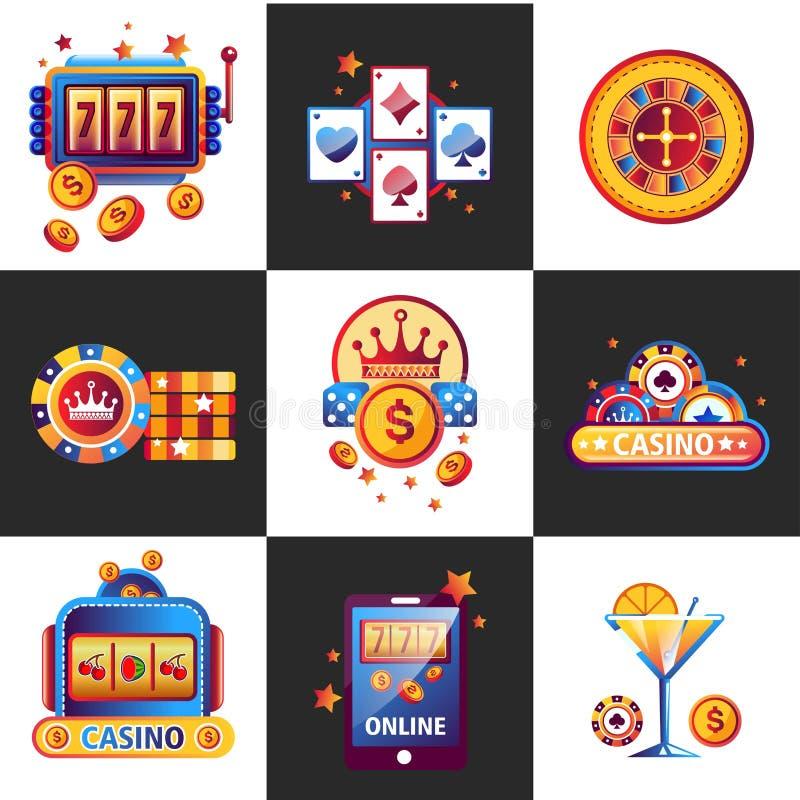 Kasino on-line-Promoembleme mit spielendem Ausrüstungssatz lizenzfreie abbildung