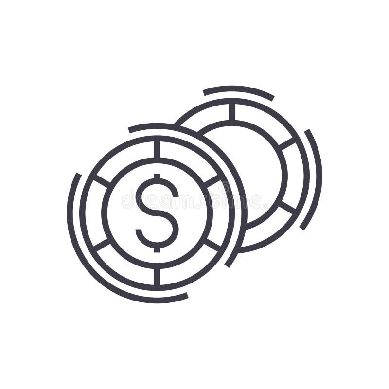 Kasino linje symbol, tecken, illustration för vektor för brädelekar på bakgrund, redigerbara slaglängder stock illustrationer
