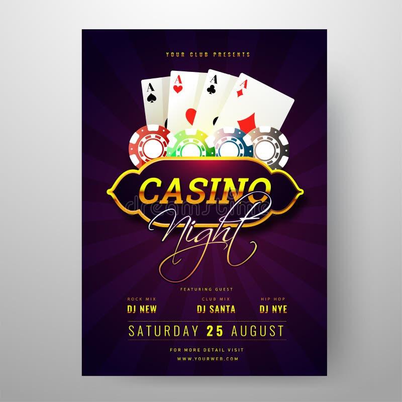 Kasino-Nachtparteieinladungs-Kartenentwurf mit Spielkarten und Pokerchipillustration auf purpurroten Strahlen vektor abbildung