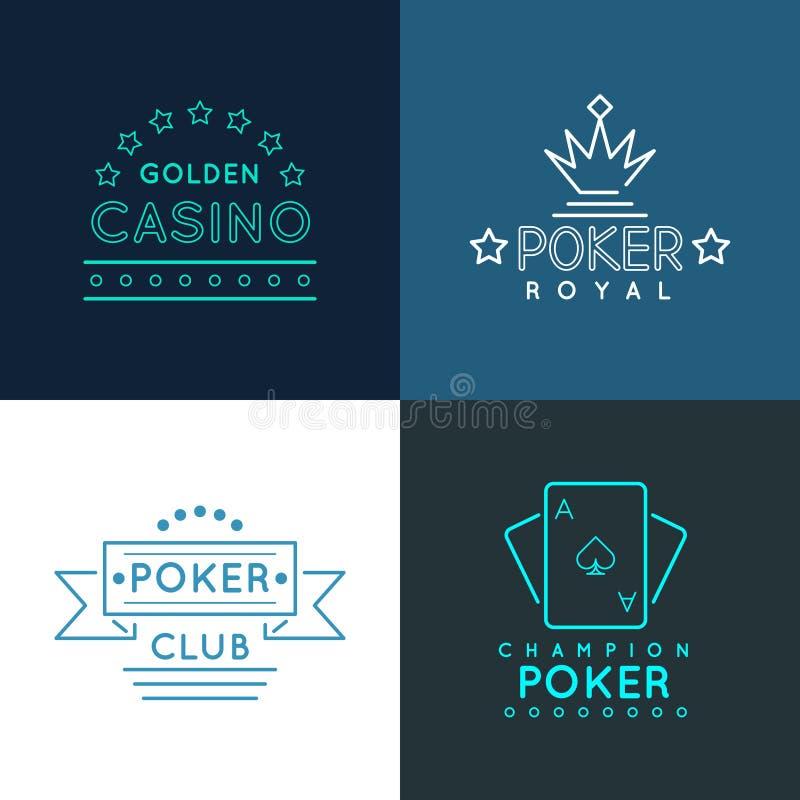 Kasino- och pokerklubbaetiketter, emblemlogoer ställde in in royaltyfri illustrationer