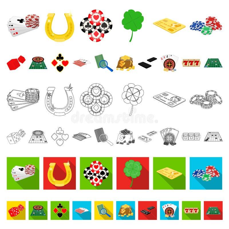 Kasino- och utrustningtecknad filmsymboler i uppsättningsamlingen för design Dobbleri- och pengarvektorsymbolet lagerför rengörin stock illustrationer