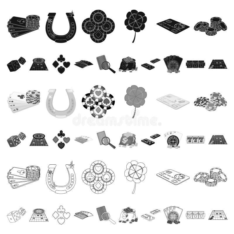 Kasino- och utrustningtecknad filmsymboler i uppsättningsamlingen för design Dobbleri- och pengarvektorsymbolet lagerför rengörin vektor illustrationer