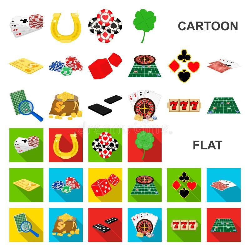 Kasino- och utrustningtecknad filmsymboler i uppsättningsamlingen för design Dobbleri- och pengarvektorsymbolet lagerför rengörin royaltyfri illustrationer