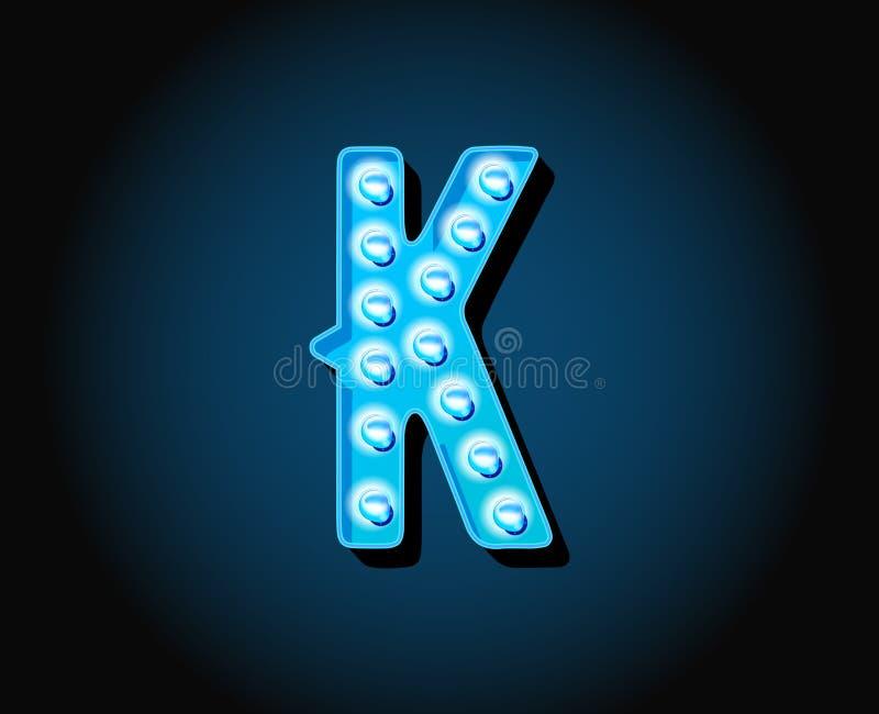 Kasino oder Broadway unterzeichnet Alphabet-Brief glühlampe der Art Neon vektor abbildung