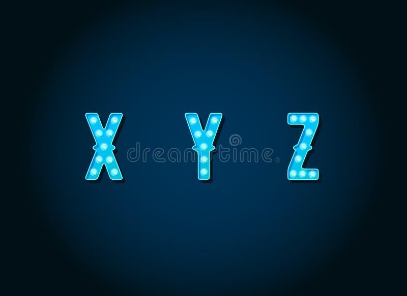 Kasino oder Broadway unterzeichnet Art Blaulichtbirne Alphabet-Briefe stock abbildung
