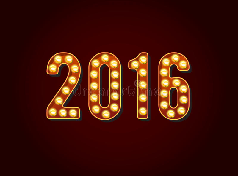 Kasino 2016 oder Broadway unterzeichnet Stellen oder Zahlen Glühlampe der Art stock abbildung