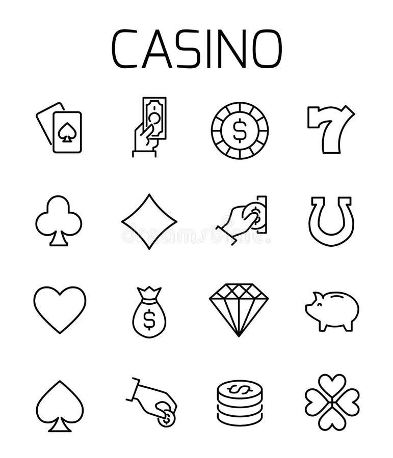 Kasino släkt vektorsymbolsuppsättning royaltyfri illustrationer