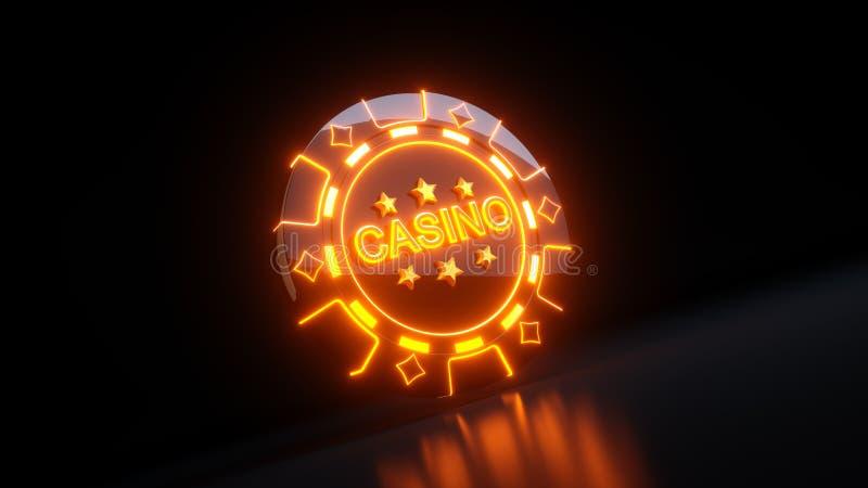 Kasino som spelar chiper i det Diamondss symbolbegreppet med neonljus - illustration 3D stock illustrationer