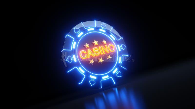 Kasino som spelar chiper i spadesymbolbegreppet med neonljus - illustration 3D royaltyfri illustrationer