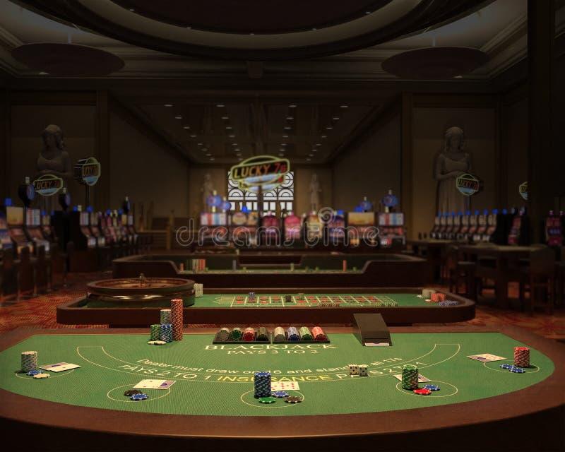 Kasino som spelar Hall, blackjackillustration royaltyfri illustrationer