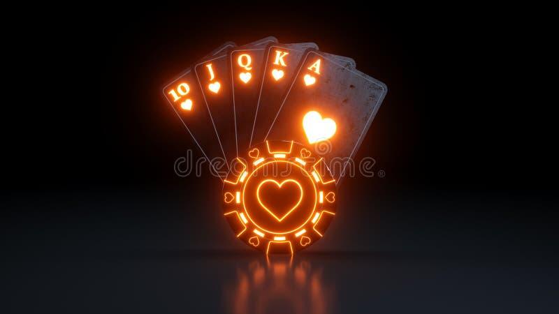Kasino som spelar kunglig spolning för begrepp i hjärtapokerkort med neonljus som isoleras på den svarta bakgrunden - illustratio vektor illustrationer
