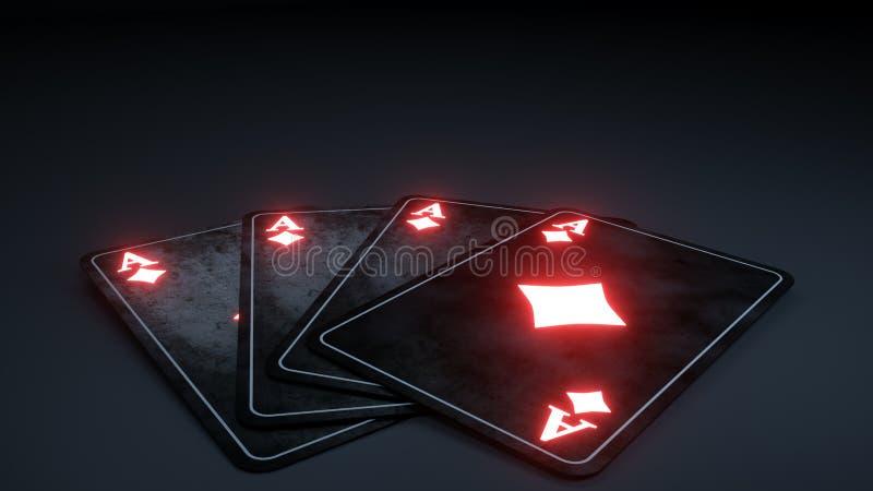 Kasino som spelar pokerkortbegrepp med glödande neon som isoleras på den svarta bakgrunden, diamantsymbol - illustration 3D vektor illustrationer