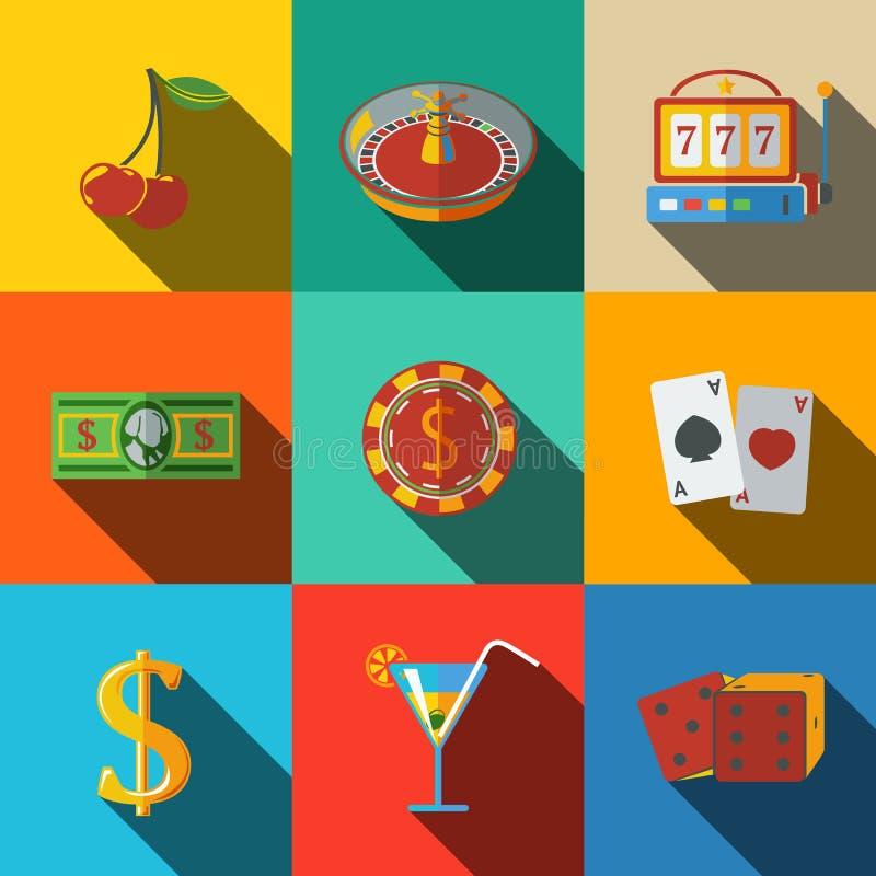 Kasino, spielende moderne flache Ikonen eingestellt - Würfel lizenzfreie abbildung