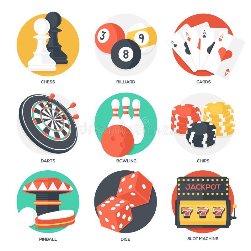 Kasino-Sport-und Freizeit-Spiel-Ikonen (Schach, Billard, Poker, Pfeile, Bowlingspiel, spielende Chips, Flipperautomat, Würfel und lizenzfreie abbildung