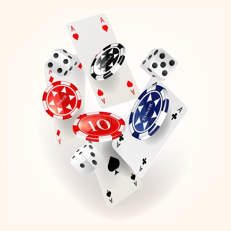 Kasinobegrepp som sv?var kort och chiper stock illustrationer