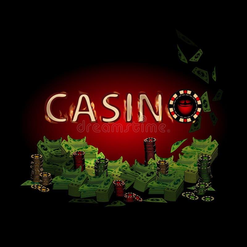 Kasinobrandbokstäver av mycket pengar stock illustrationer