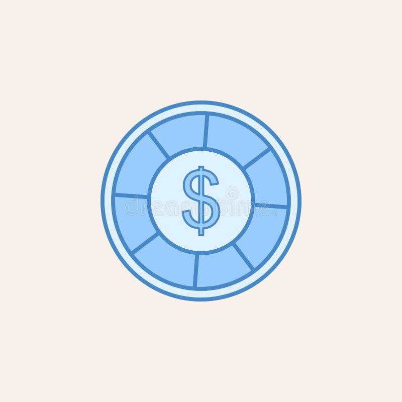 kasinochip med dollarsymbolen Beståndsdel av kasinosymbolen för mobila begrepps- och rengöringsdukapps Chip för fältöversiktskasi stock illustrationer