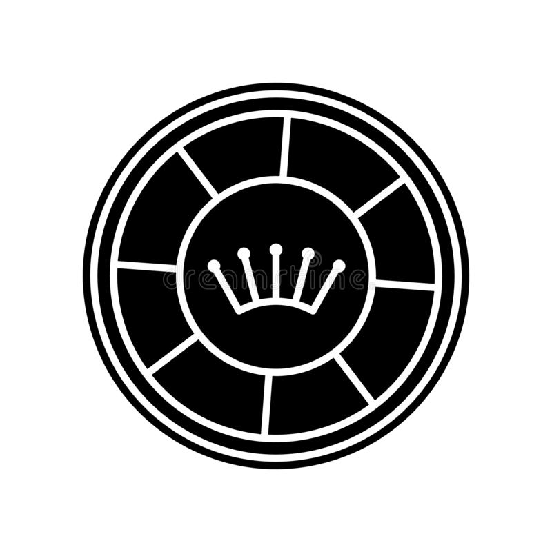 Kasinochip mit Kronenikone Element des Kasinos f?r bewegliches Konzept und Netz Appsikone Glyph, flache Ikone f?r Websiteentwurf  vektor abbildung