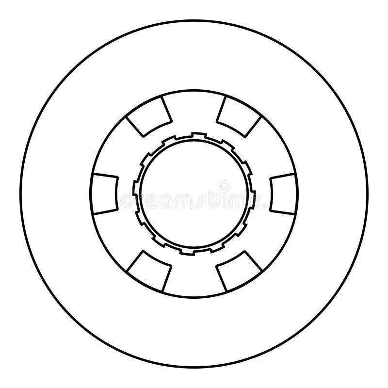 Kasinochipikonenschwarzfarbe im runden Kreis stock abbildung
