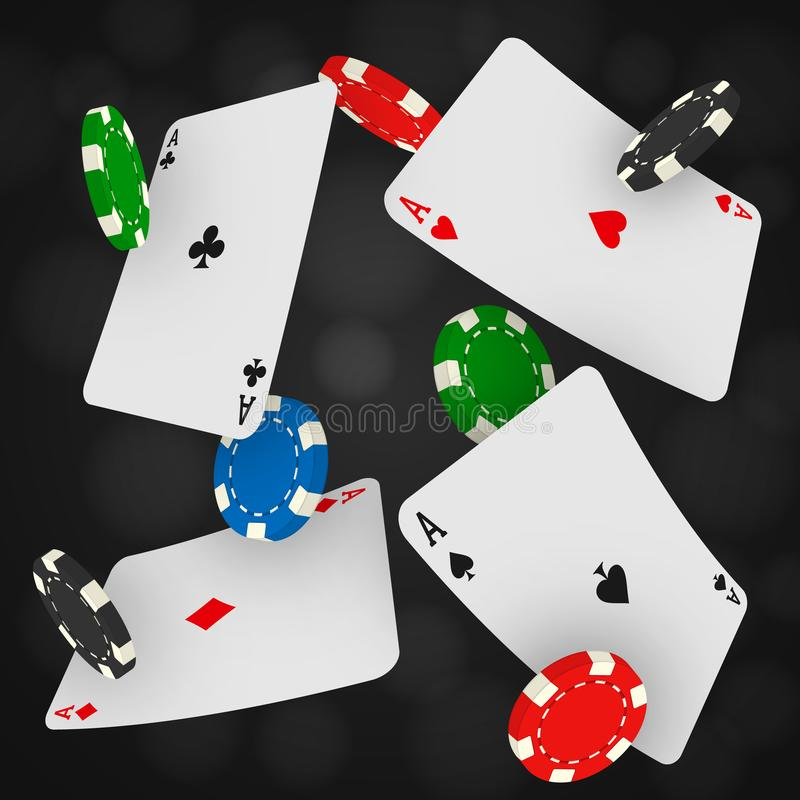 Kasinochips und -asse, die auf einen schwarzen Hintergrund fallen Spielen vernarrt mit Spielkarten des Fliegens und Spielmünzen vektor abbildung