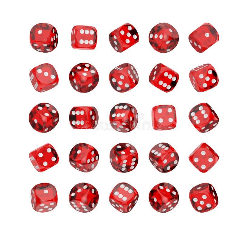Kasinodobbleribegrepp Uppsättning av modiga tärningkuber för rött exponeringsglas i den Differetn positionen framförande 3d stock illustrationer