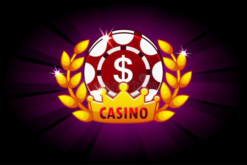Kasinofahne mit Pokerchip und Krone, Ikone und Text Symbolschürhaken Vektorillustration für Kasino, Schlitze und Spiel UI stock abbildung