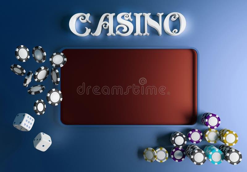 Kasinohintergrundwürfel und -chips On-line-Kasinotabellenkonzept mit Platz für Text Draufsicht von weißen Würfeln und von Chips a stock abbildung